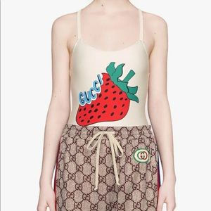 GUCCI women's one piece swimsuit strawberry red